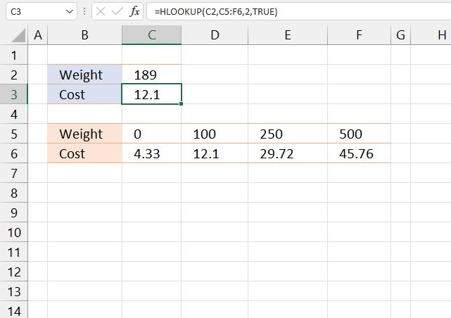HLOOKUP function approximate match 1