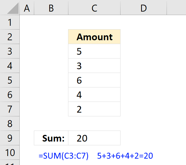 How to use the SUM function