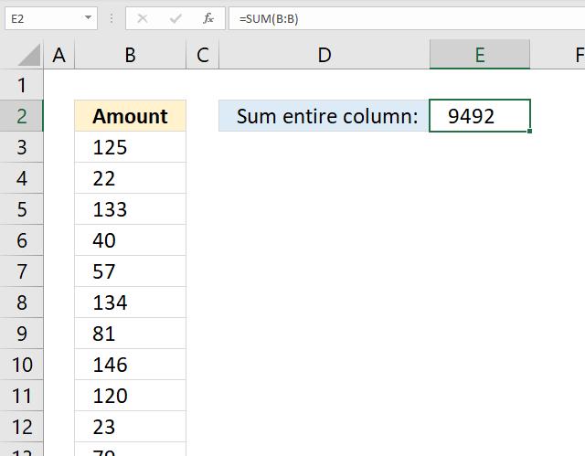 SUM function entire column