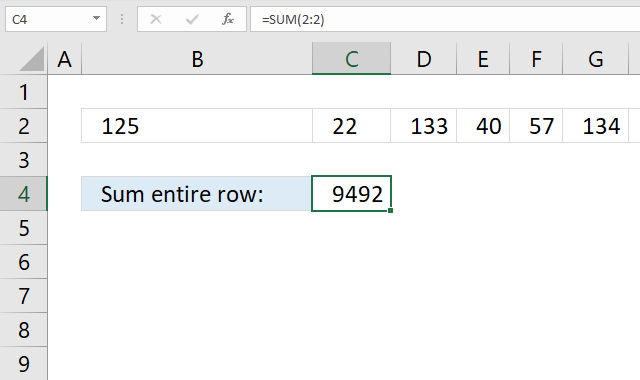 SUM function entire row