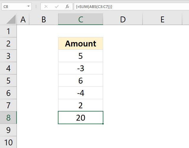 SUM function sum absolute values