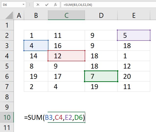 SUM function sum specific cellls