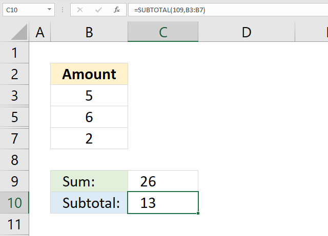 SUM function visible cells