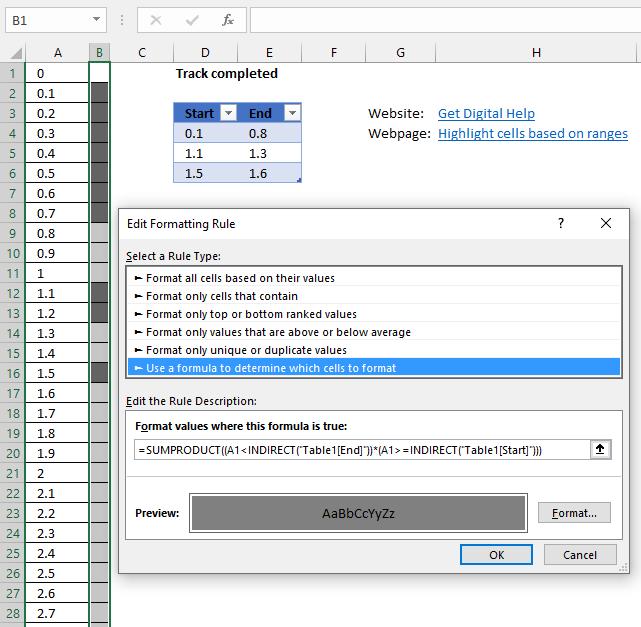 Track progress apply conditional formatting