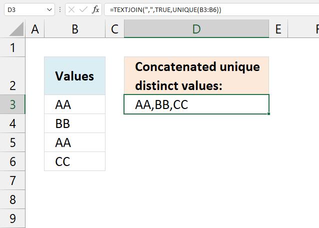 Concatenate unique distinct values Excel 365