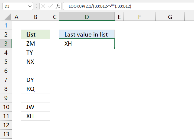 Find last value in a column 1