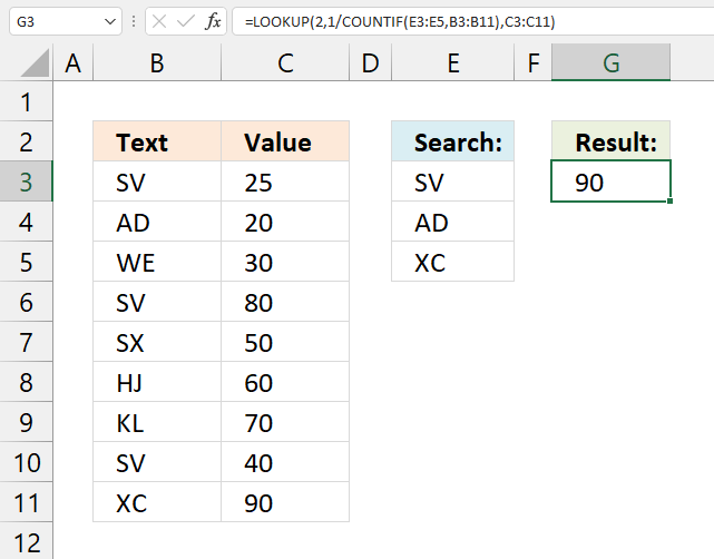 Find the last matching value in an unsorted table match list of values