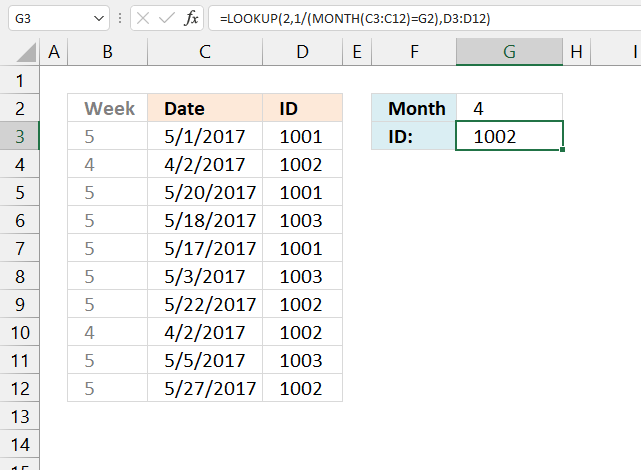 Find the last matching value in an unsorted table month