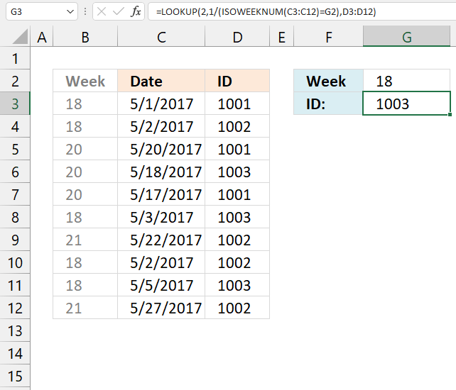 Find the last matching value in an unsorted table week