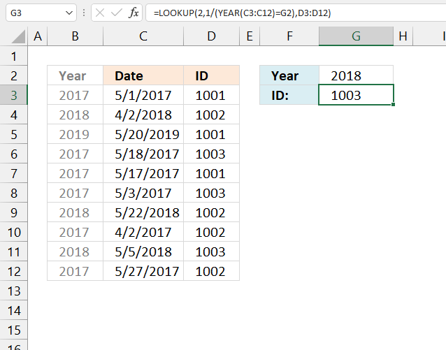 Find the last matching value in an unsorted table year