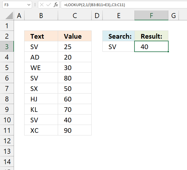 Find the last matching value in an unsorted table