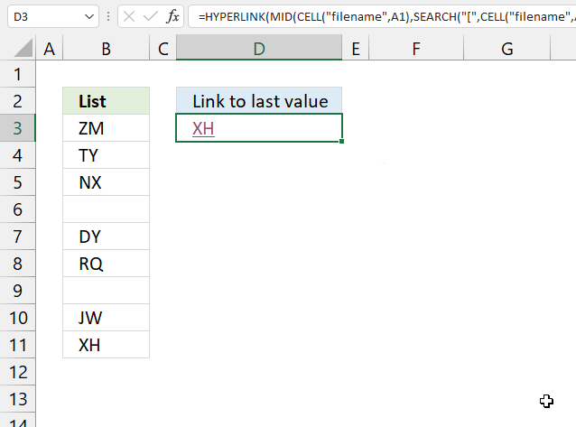 Link to the last value in a column