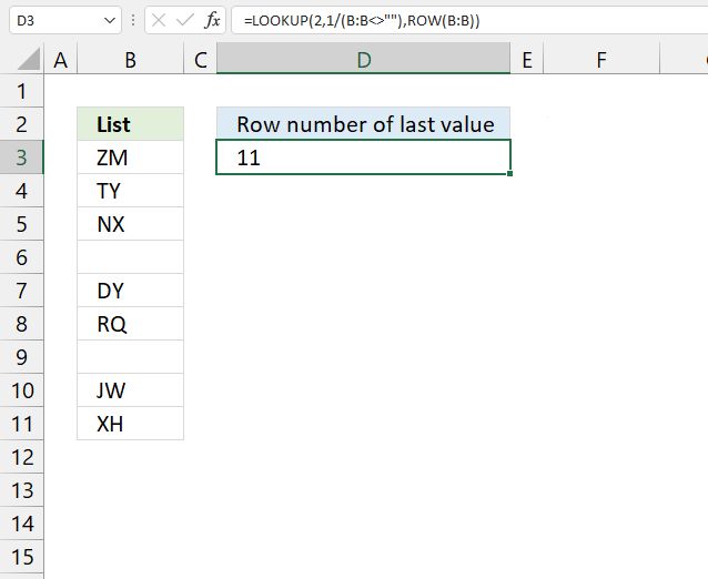 Row number of the last value in a column