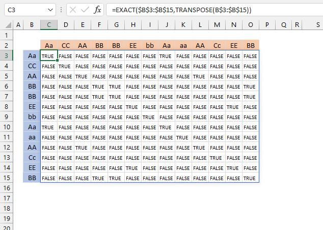 Extract a case sensitive unique list from a column Excel 365 array 1