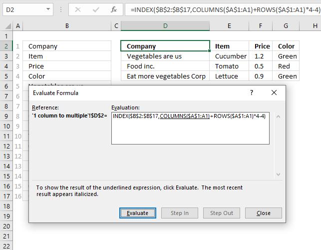 Rearrange values evaluate formula tool
