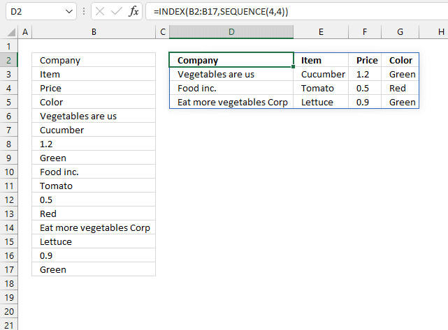Rearrange values one column to many Excel 365