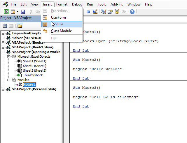 Run a macro automatically when activating a specific worksheet module