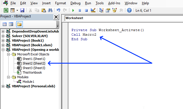 Run a macro automatically when activating a specific worksheet worksheet module code