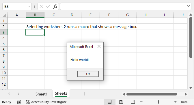 Run a macro automatically when activating a specific worksheet