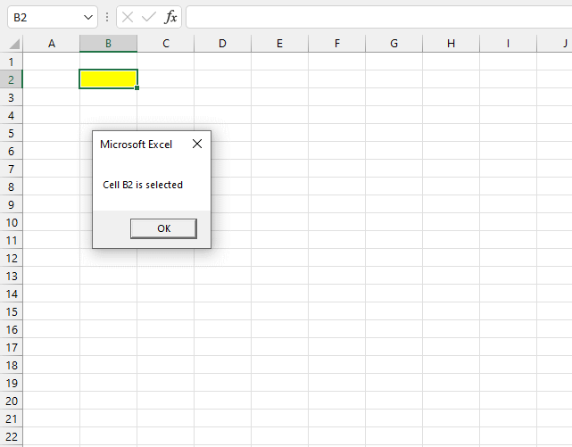 Run macro when specific cell is selected