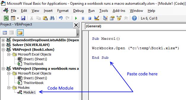 Opening a workbook runs a macro automatically