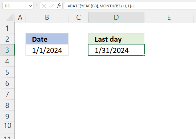 Excel Date function Last day of a given month