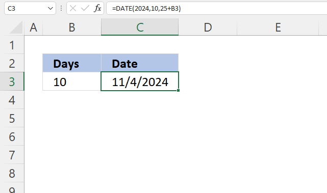 Excel Date function add days