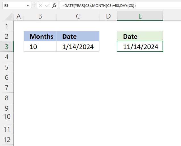 Excel Date function add months