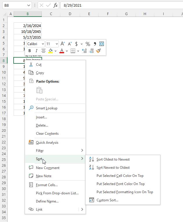 Excel Date function sort dates
