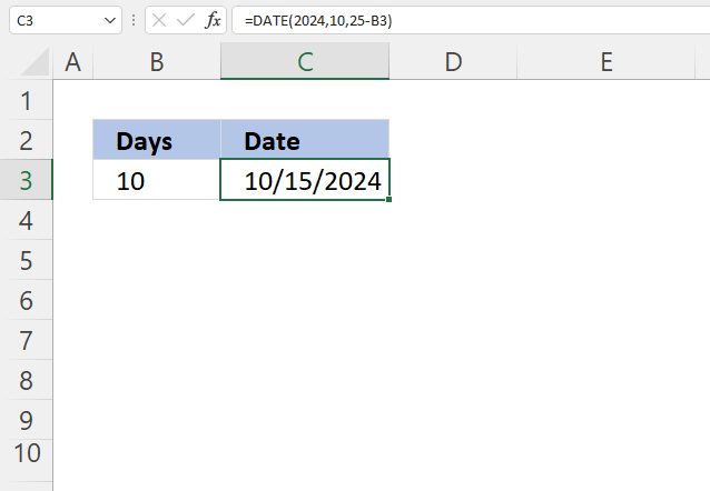Excel Date function subtract days
