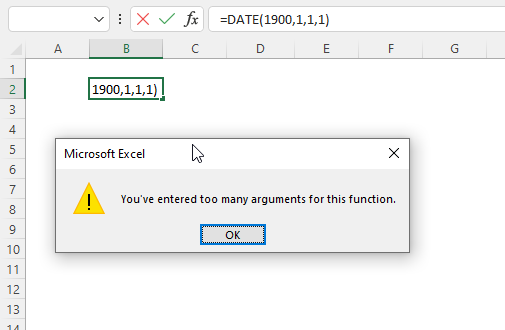 Excel Date too many argumnets