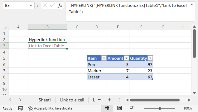 HYPERLINK function link to Excel Table