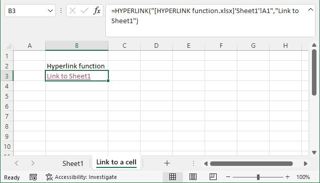 HYPERLINK function link to a worksheet 1