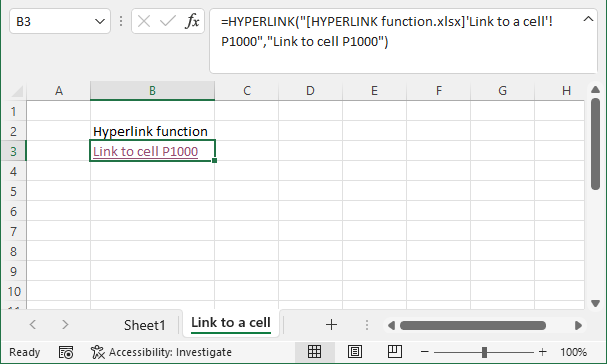 HYPERLINK function link to cell