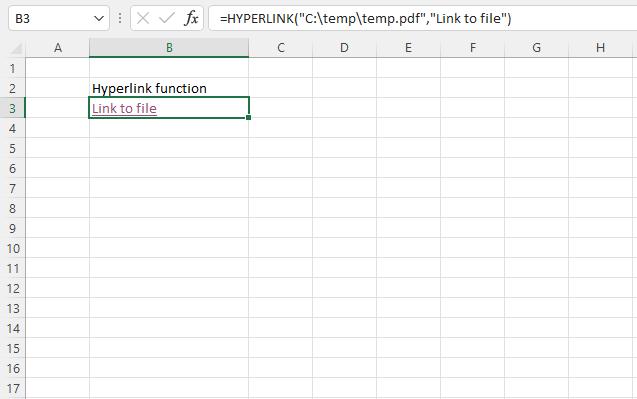 HYPERLINK function link to file