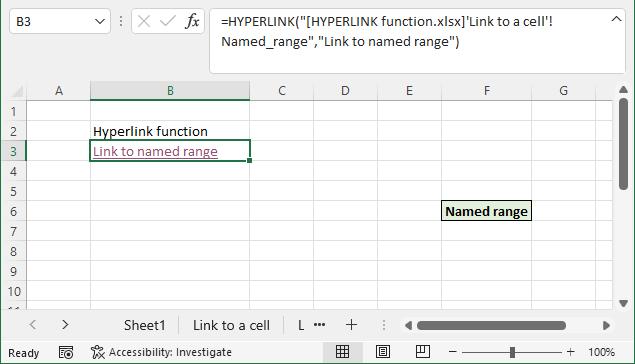 HYPERLINK function link to named range