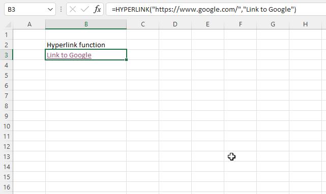 HYPERLINK function link to website