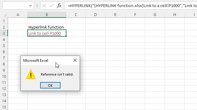 HYPERLINK function reference isnt valid