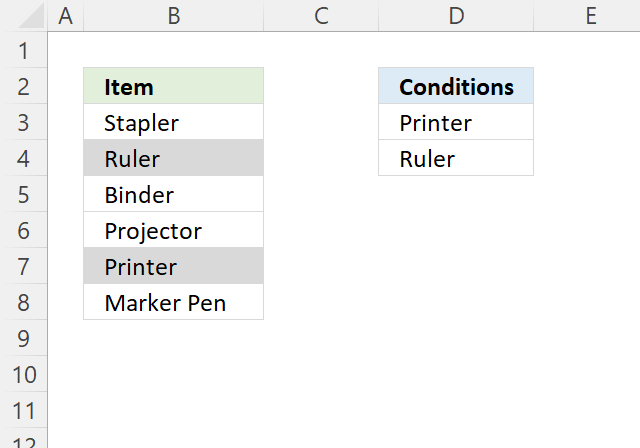 OR function Conditional formatting