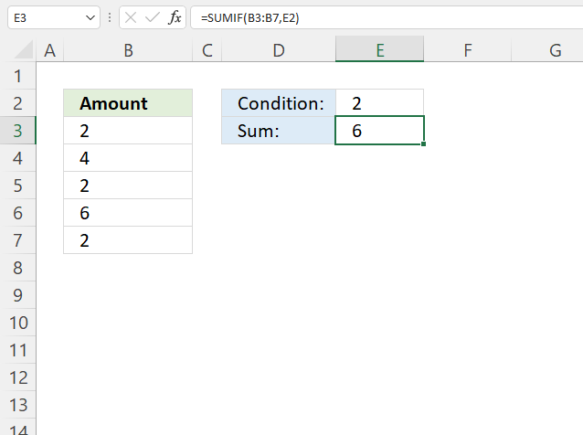 SUMIF function condition2