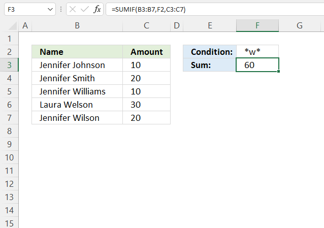 SUMIF function wildcard asterisk
