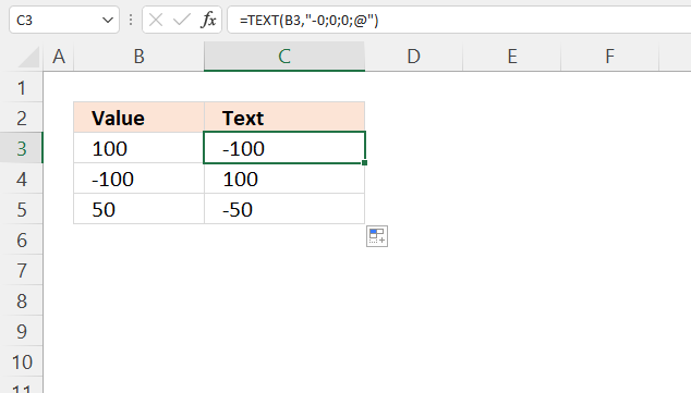 TEXT function change signs for numbers