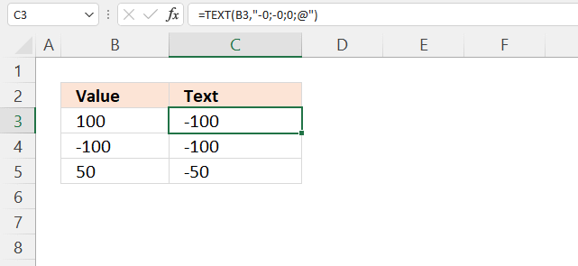 TEXT function convert positive numbers to negative numbers