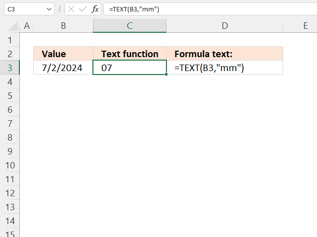 TEXT function month with leading zero