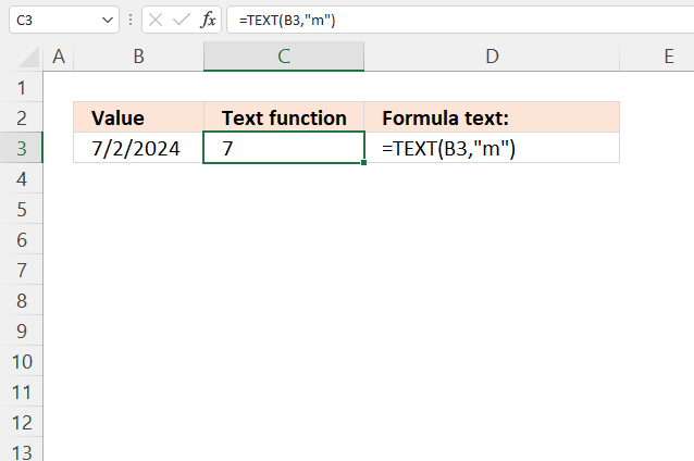 TEXT function month without leading zero