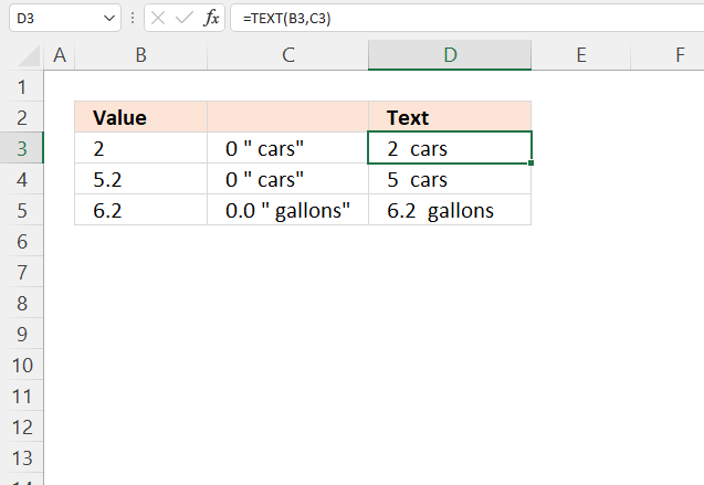 TEXT function text and numbers