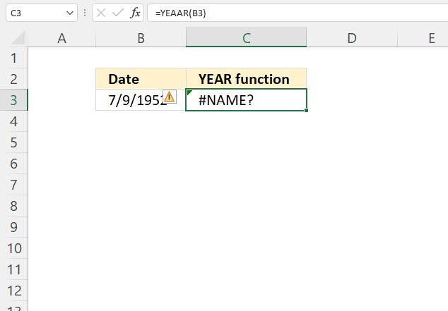 YEAR function NAME error