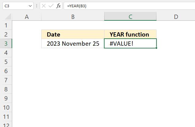 YEAR function VALUE error