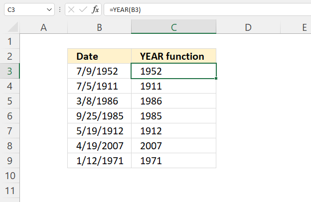 YEAR function calculate year from date