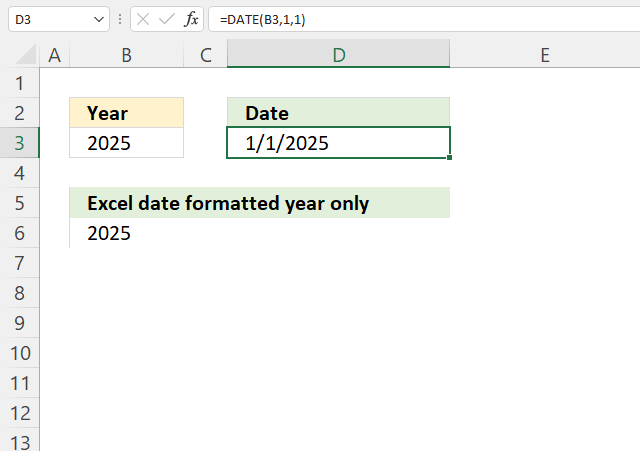 YEAR function convert year to Excel date